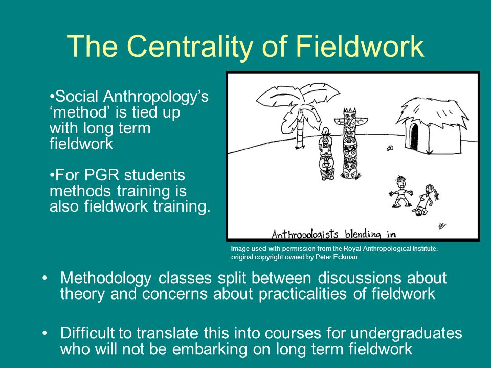 The Centrality of Fieldwork Methodology classes split between discussions about theory and concerns about practicalities of fieldwork Difficult to translate this into courses for undergraduates who will not be embarking on long term fieldwork Social Anthropologys method is tied up with long term fieldwork For PGR students methods training is also fieldwork training.