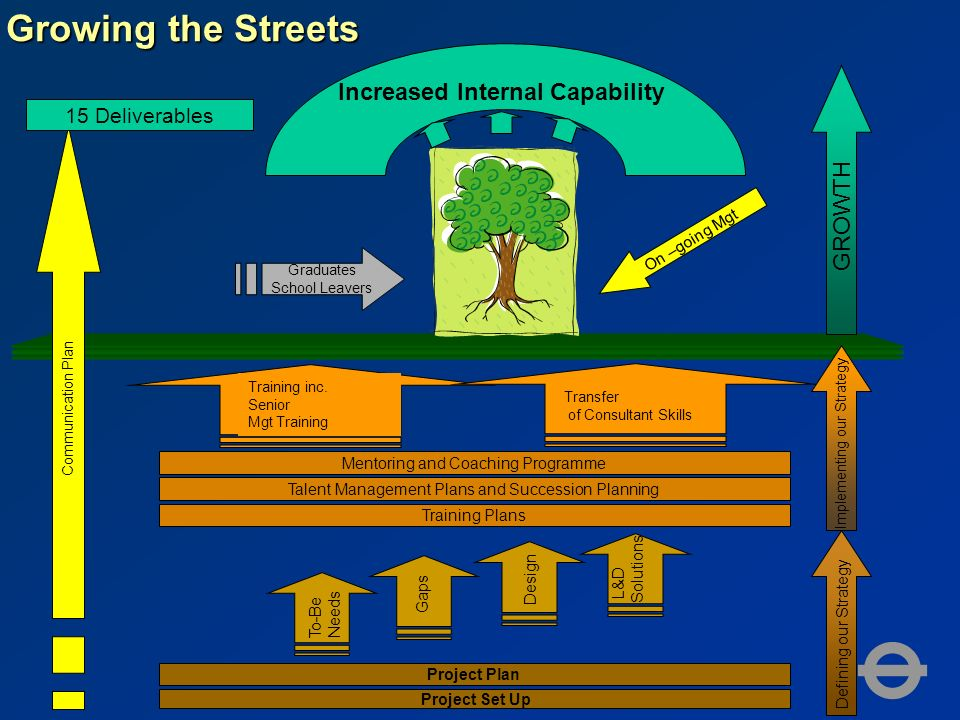 Growing the Streets Graduates School Leavers Project Set Up Project Plan To-Be Needs Gaps Design L&D Solutions Training Plans Talent Management Plans