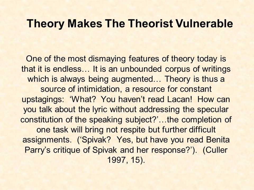 One of the most dismaying features of theory today is that it is endless… It is an unbounded corpus of writings which is always being augmented… Theory is thus a source of intimidation, a resource for constant upstagings: What.