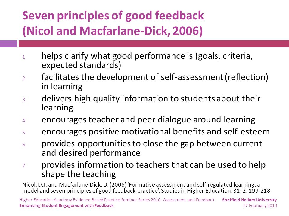 Seven principles of good feedback (Nicol and Macfarlane-Dick, 2006) 1. helps clarify what good performance is (goals, criteria, expected standards) 2.