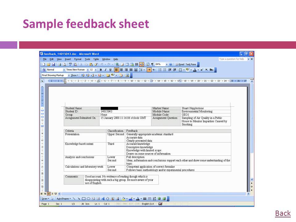 Sample feedback sheet Back