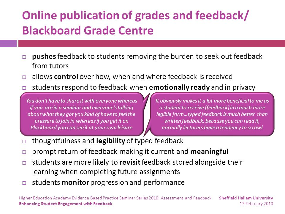 Online publication of grades and feedback/ Blackboard Grade Centre pushes feedback to students removing the burden to seek out feedback from tutors allows control over how, when and where feedback is received students respond to feedback when emotionally ready and in privacy thoughtfulness and legibility of typed feedback prompt return of feedback making it current and meaningful students are more likely to revisit feedback stored alongside their learning when completing future assignments students monitor progression and performance You dont have to share it with everyone whereas if you are in a seminar and everyones talking about what they got you kind of have to feel the pressure to join in whereas if you get it on Blackboard you can see it at your own leisure It obviously makes it a lot more beneficial to me as a student to receive [feedback] in a much more legible form…typed feedback is much better than written feedback, because you can read it, normally lecturers have a tendency to scrawl Sheffield Hallam University 17 February 2010 Higher Education Academy Evidence Based Practice Seminar Series 2010: Assessment and Feedback Enhancing Student Engagement with Feedback