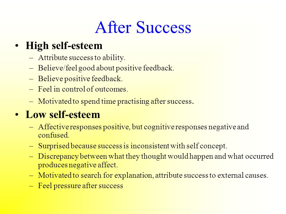 After Success High self-esteem –Attribute success to ability. –Believe/feel good about positive feedback. –Believe positive feedback. –Feel in control