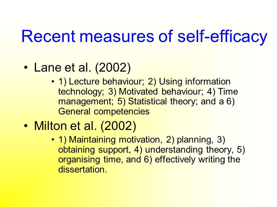 Recent measures of self-efficacy Lane et al. (2002) 1) Lecture behaviour; 2) Using information technology; 3) Motivated behaviour; 4) Time management;