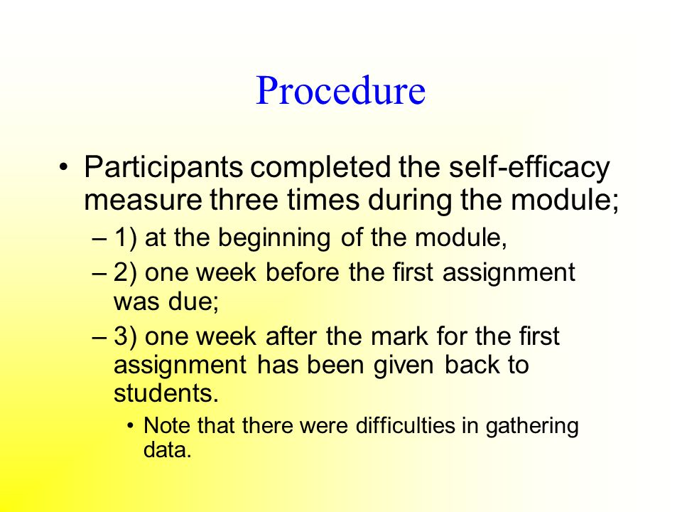 Procedure Participants completed the self-efficacy measure three times during the module; –1) at the beginning of the module, –2) one week before the