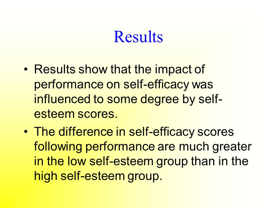 Results Results show that the impact of performance on self-efficacy was influenced to some degree by self- esteem scores. The difference in self-effi
