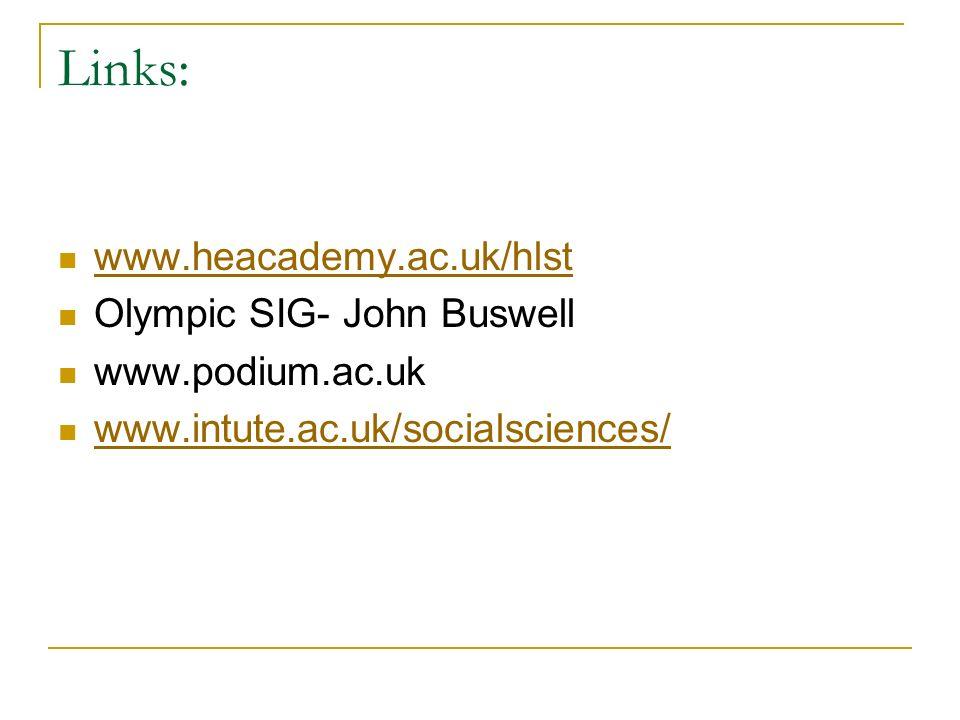 Links: www.heacademy.ac.uk/hlst Olympic SIG- John Buswell www.podium.ac.uk www.intute.ac.uk/socialsciences/