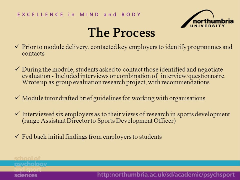 The Process Prior to module delivery, contacted key employers to identify programmes and contacts During the module, students asked to contact those i
