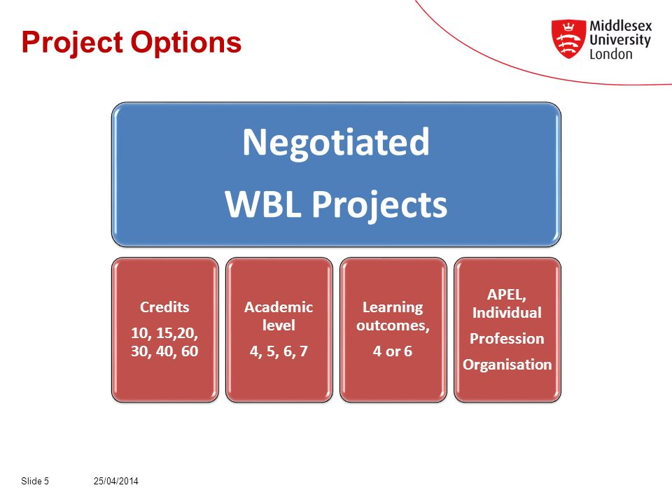 Project Options 25/04/2014Slide 5 Negotiated WBL Projects Credits 10, 15,20, 30, 40, 60 Academic level 4, 5, 6, 7 Learning outcomes, 4 or 6 APEL, Individual Profession Organisation