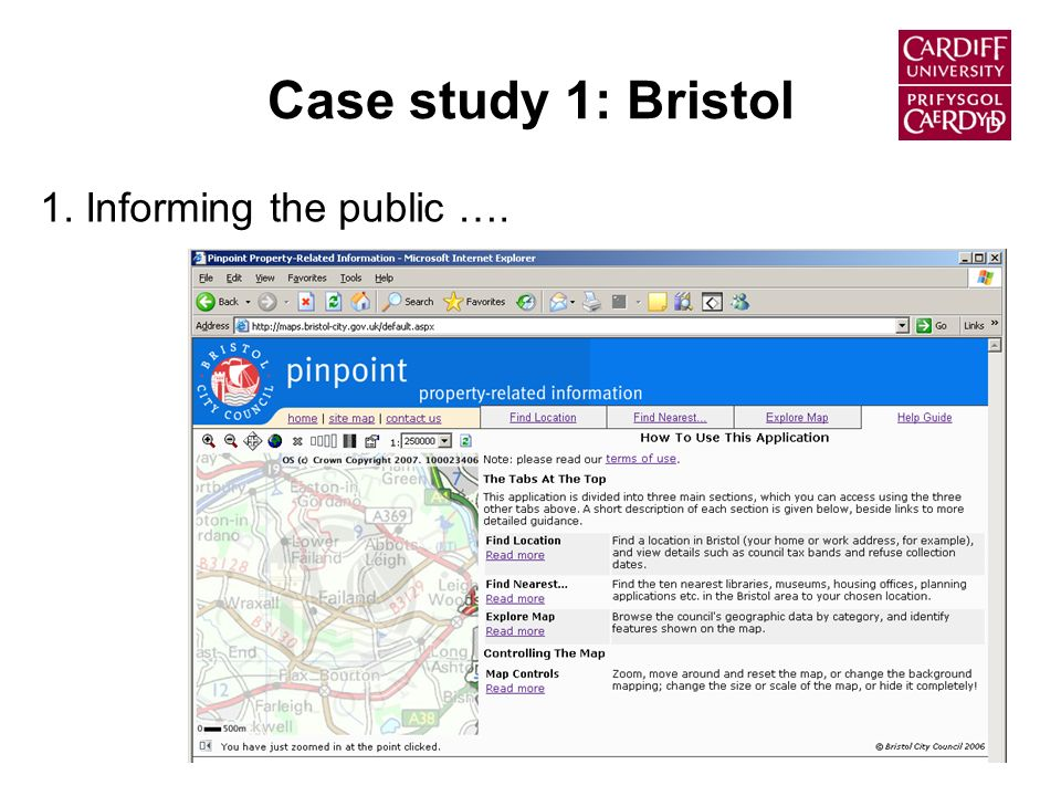 Case study 1: Bristol 1. Informing the public ….