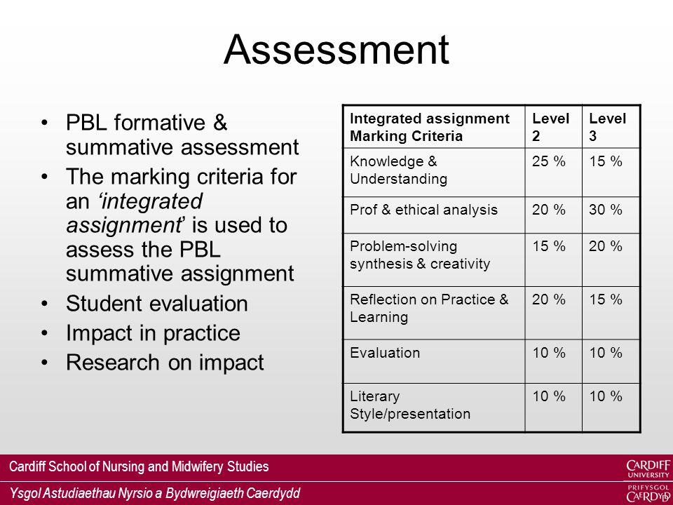 Cardiff School of Nursing and Midwifery Studies Ysgol Astudiaethau Nyrsio a Bydwreigiaeth Caerdydd Assessment PBL formative & summative assessment The