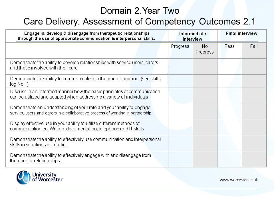 Domain 2.Year Two Care Delivery.