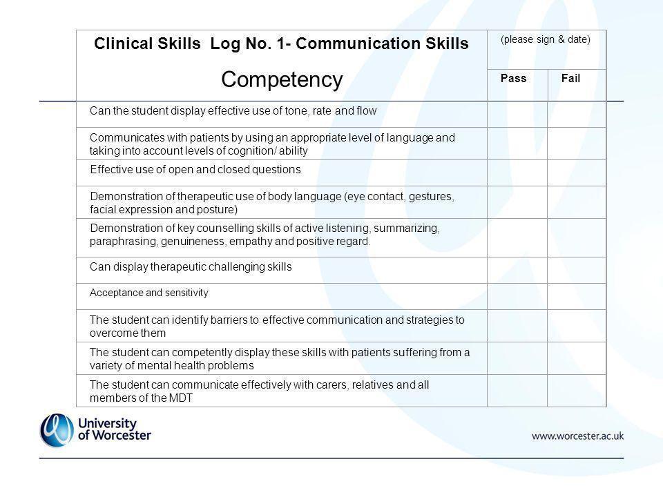 Clinical Skills Log No.