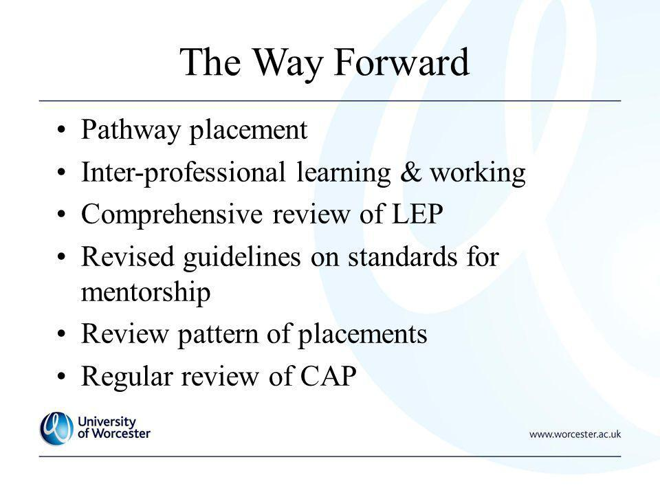 The Way Forward Pathway placement Inter-professional learning & working Comprehensive review of LEP Revised guidelines on standards for mentorship Review pattern of placements Regular review of CAP