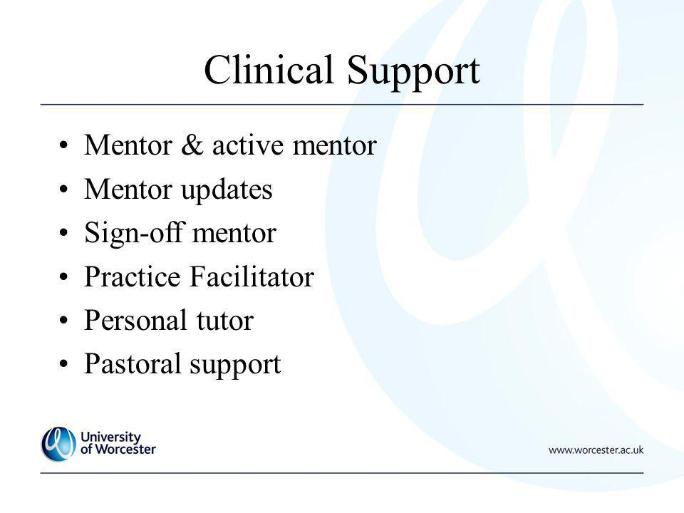 Clinical Support Mentor & active mentor Mentor updates Sign-off mentor Practice Facilitator Personal tutor Pastoral support