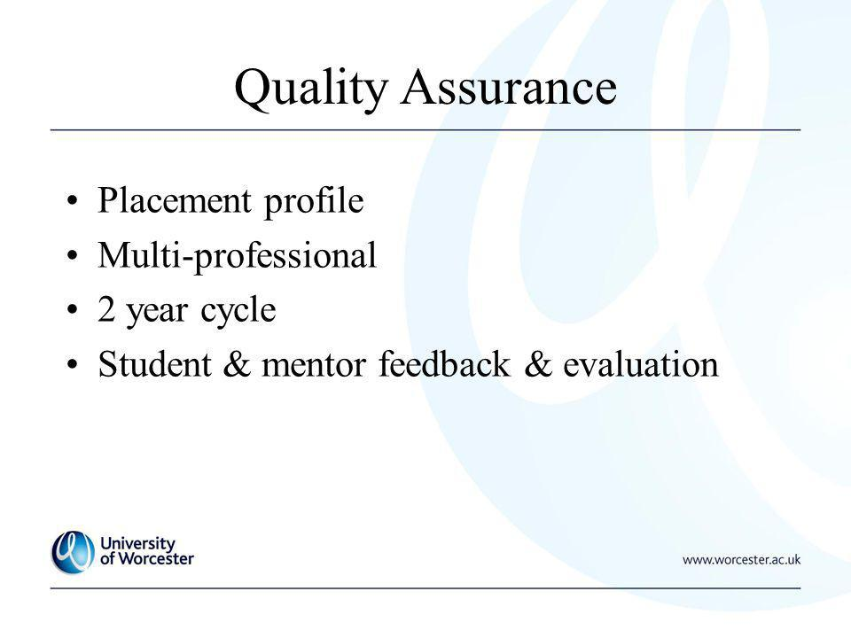 Quality Assurance Placement profile Multi-professional 2 year cycle Student & mentor feedback & evaluation