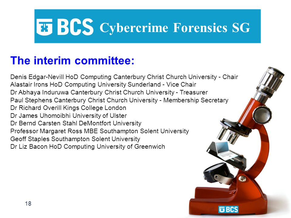 18 Cybercrime Forensics SG The interim committee: Denis Edgar-Nevill HoD Computing Canterbury Christ Church University - Chair Alastair Irons HoD Comp