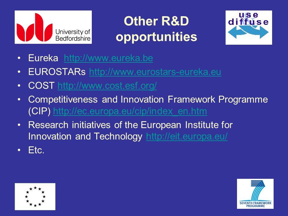 Other R&D opportunities Eureka http://www.eureka.behttp://www.eureka.be EUROSTARs http://www.eurostars-eureka.euhttp://www.eurostars-eureka.eu COST ht