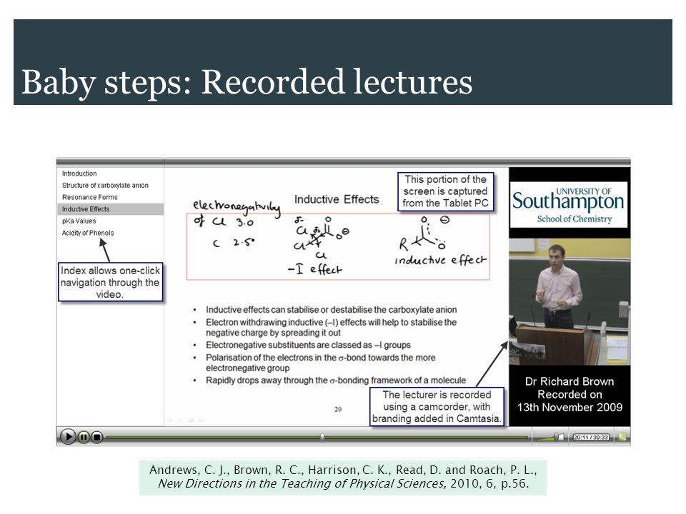 Baby steps: Recorded lectures Andrews, C. J., Brown, R.