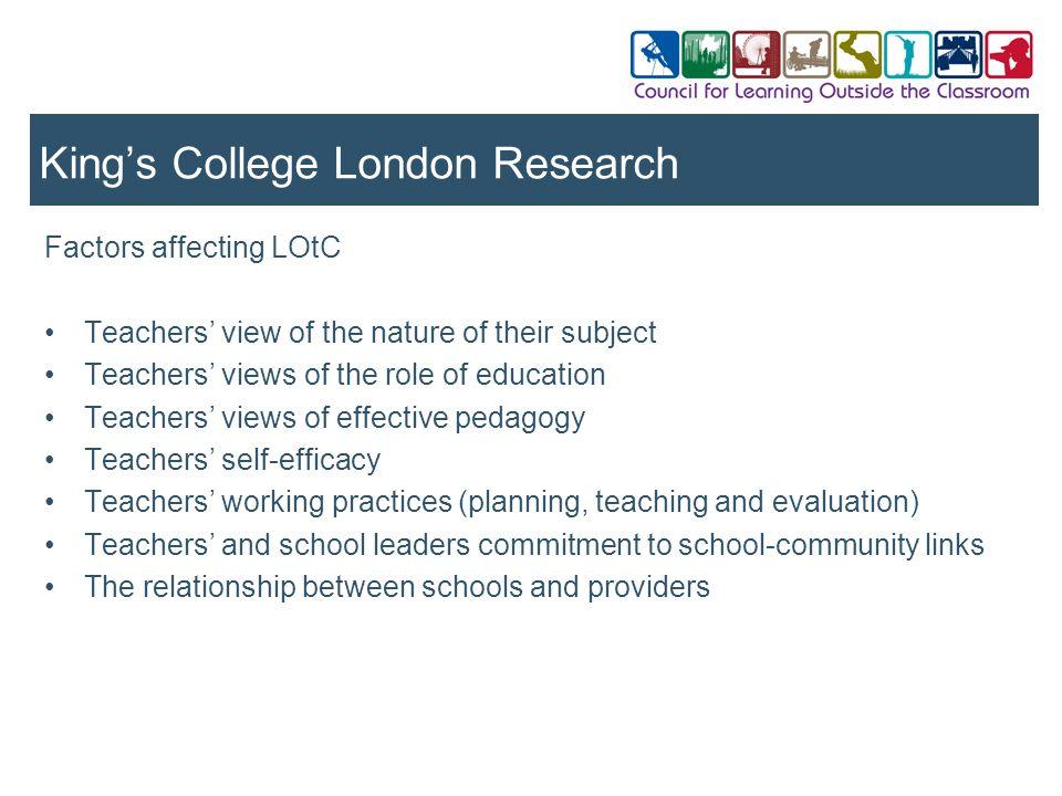 Factors affecting LOtC Teachers view of the nature of their subject Teachers views of the role of education Teachers views of effective pedagogy Teach