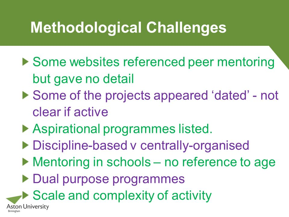 Methodological Challenges Some websites referenced peer mentoring but gave no detail Some of the projects appeared dated - not clear if active Aspirat