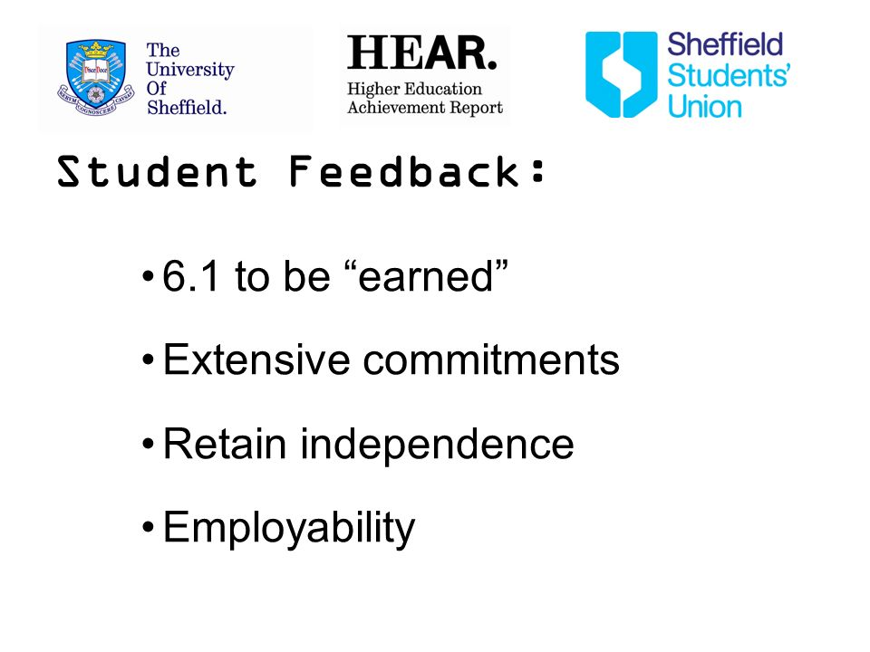 Student Feedback: 6.1 to be earned Extensive commitments Retain independence Employability