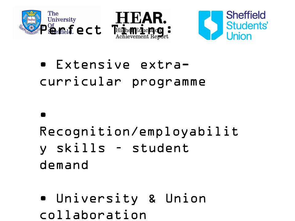 Perfect Timing: Extensive extra- curricular programme Recognition/employabilit y skills – student demand University & Union collaboration