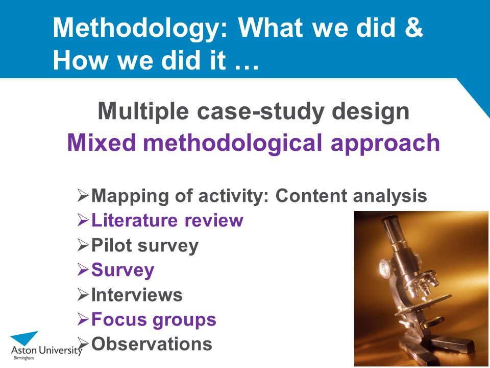 Methodology: What we did & How we did it … Multiple case-study design Mixed methodological approach Mapping of activity: Content analysis Literature r