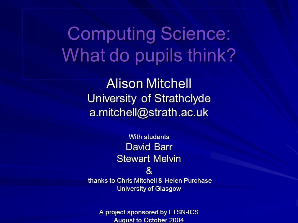 Computing Science: What do pupils think.