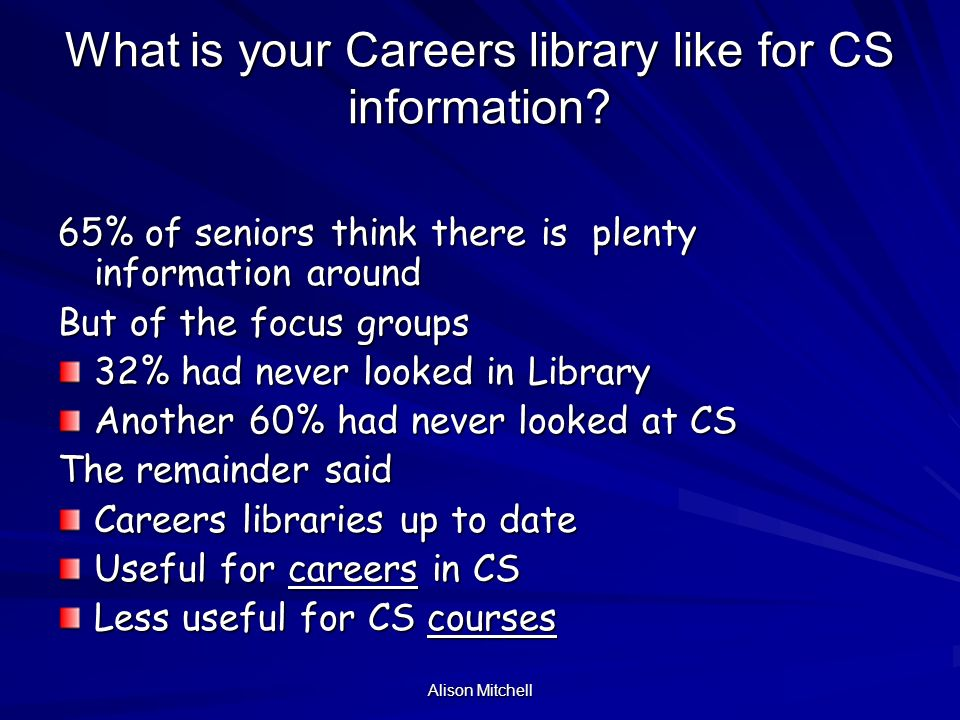Alison Mitchell What is your Careers library like for CS information.