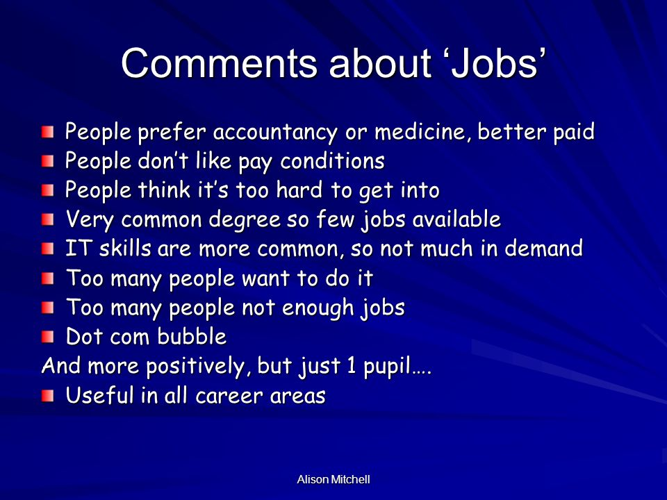 Alison Mitchell Comments about Jobs People prefer accountancy or medicine, better paid People dont like pay conditions People think its too hard to get into Very common degree so few jobs available IT skills are more common, so not much in demand Too many people want to do it Too many people not enough jobs Dot com bubble And more positively, but just 1 pupil….