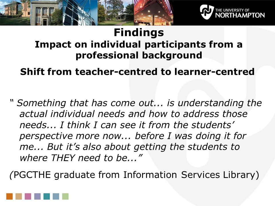 Findings Impact on individual participants from a professional background Shift from teacher-centred to learner-centred Something that has come out...