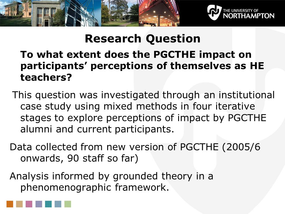 Research Question To what extent does the PGCTHE impact on participants perceptions of themselves as HE teachers.