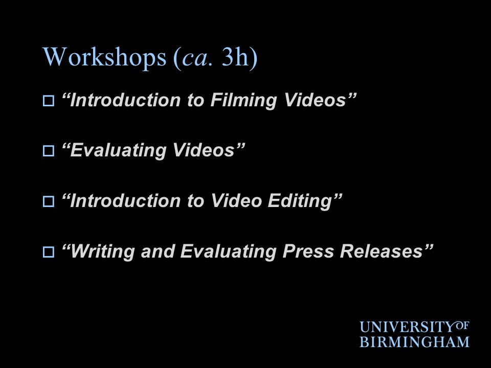 Workshops (ca.