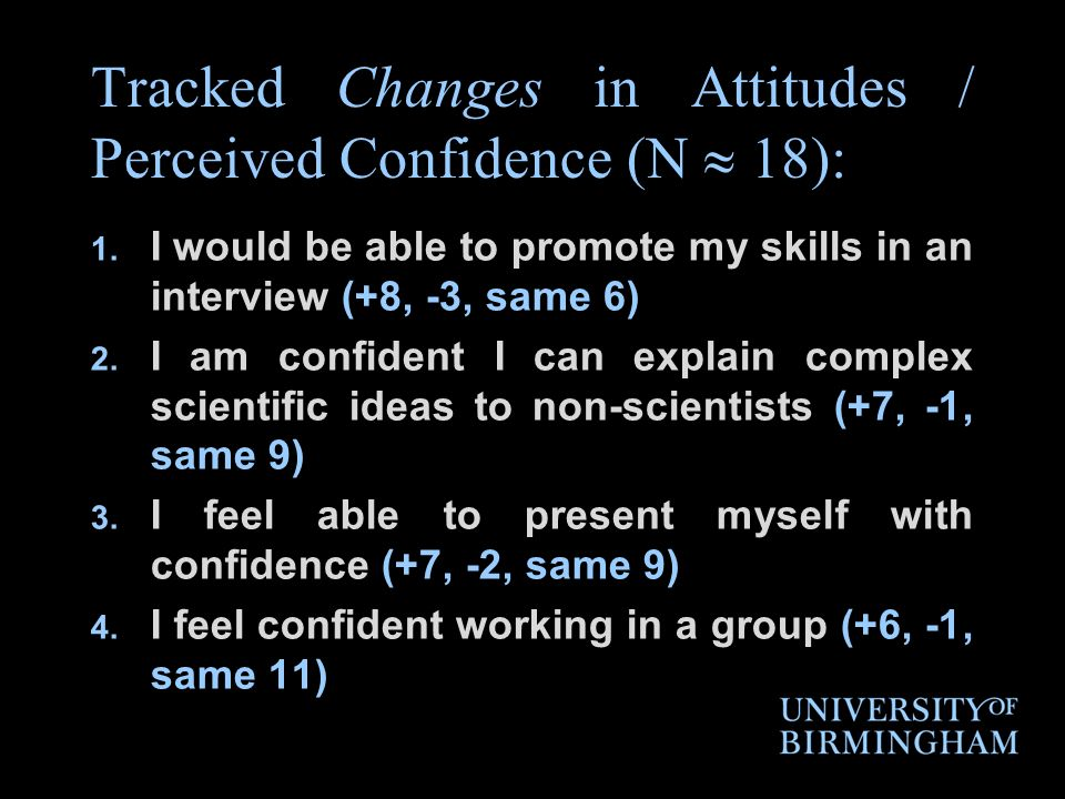Tracked Changes in Attitudes / Perceived Confidence (N 18): 1.