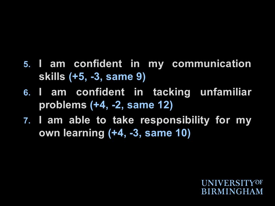 5. I am confident in my communication skills (+5, -3, same 9) 6.