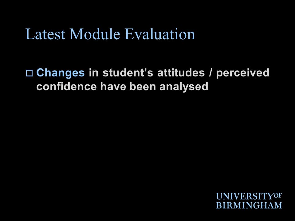 Latest Module Evaluation Changes in students attitudes / perceived confidence have been analysed
