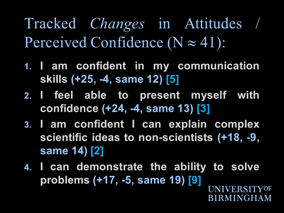 Tracked Changes in Attitudes / Perceived Confidence (N 41): 1.