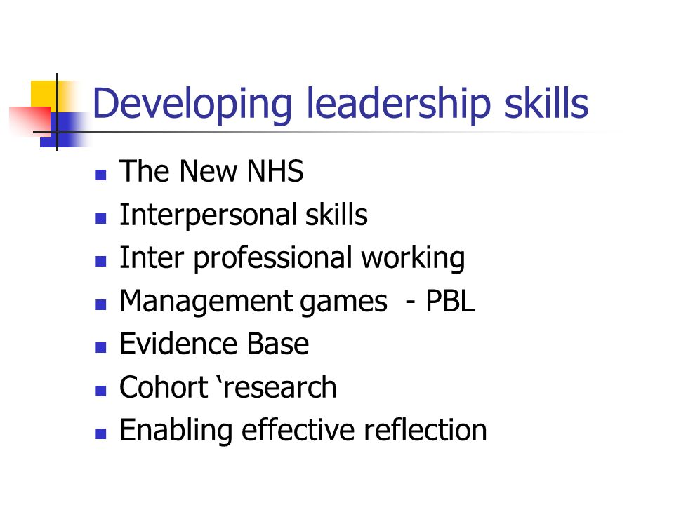 Developing leadership skills The New NHS Interpersonal skills Inter professional working Management games - PBL Evidence Base Cohort research Enabling effective reflection