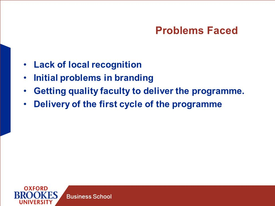 Business School Problems Faced Lack of local recognition Initial problems in branding Getting quality faculty to deliver the programme.