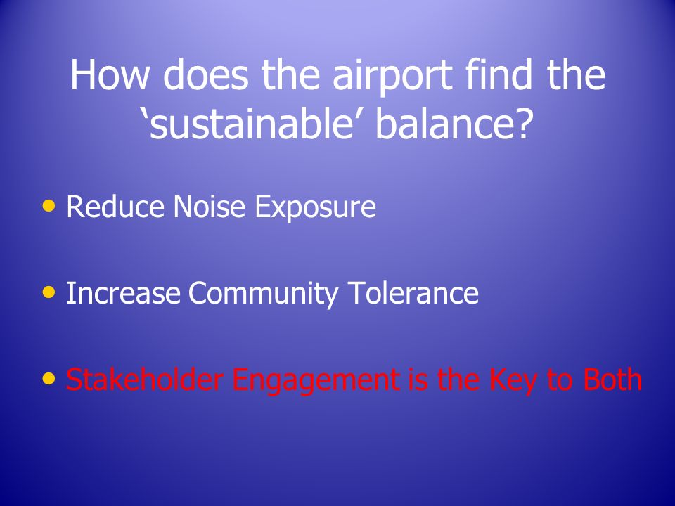 How does the airport find the sustainable balance.
