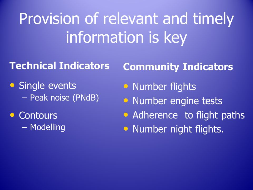 Provision of relevant and timely information is key Technical Indicators Single events – –Peak noise (PNdB) Contours – –Modelling Community Indicators Number flights Number engine tests Adherence to flight paths Number night flights.