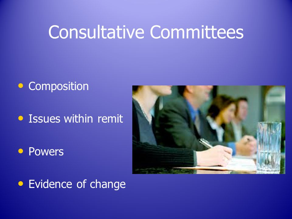 Consultative Committees Composition Issues within remit Powers Evidence of change