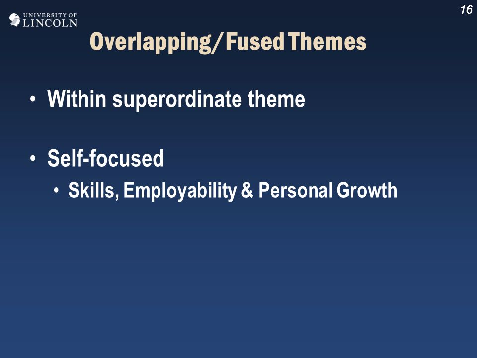 16 Overlapping/Fused Themes Within superordinate theme Self-focused Skills, Employability & Personal Growth 16