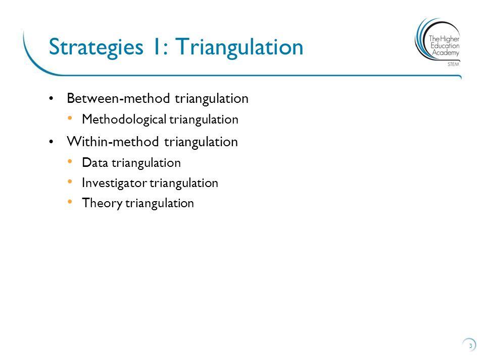 Between-method triangulation Methodological triangulation Within-method triangulation Data triangulation Investigator triangulation Theory triangulation 3 Strategies 1: Triangulation