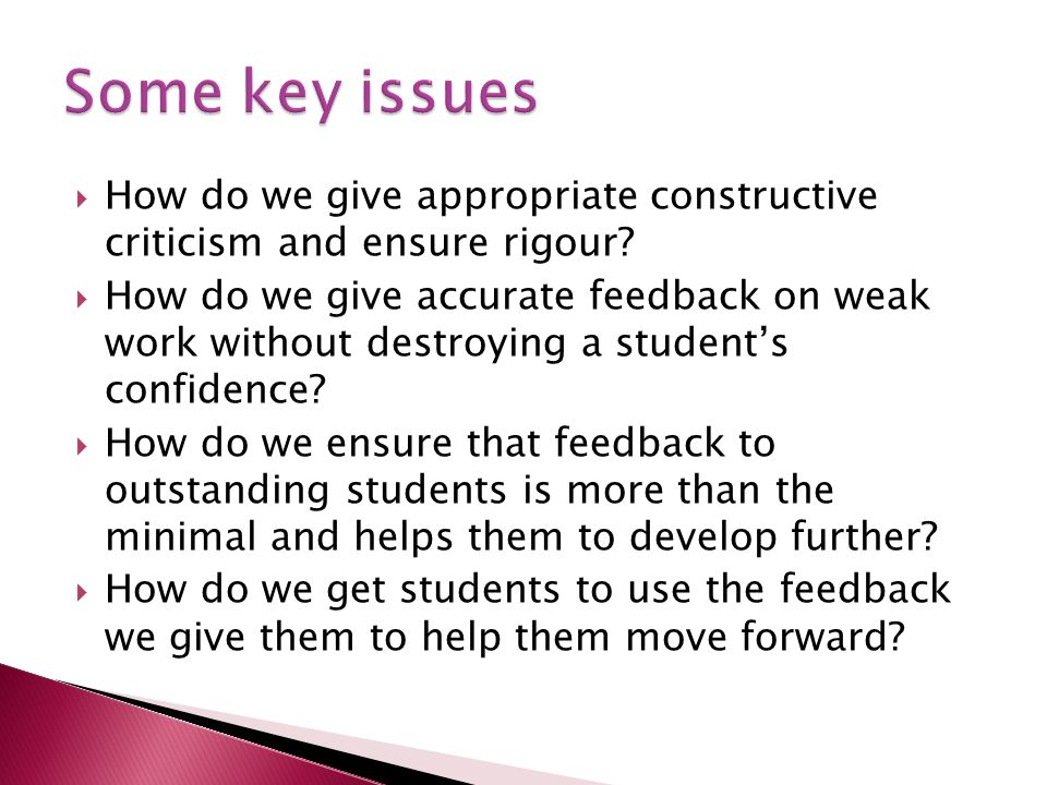 How do we give appropriate constructive criticism and ensure rigour.