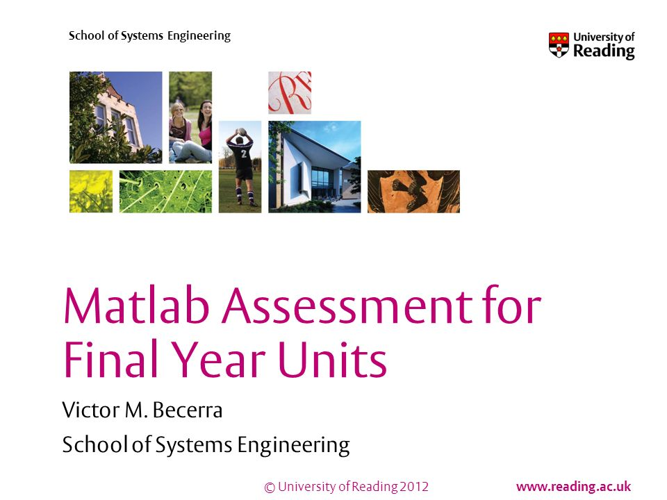 © University of Reading 2012 www.reading.ac.uk School of Systems Engineering Matlab Assessment for Final Year Units Victor M.