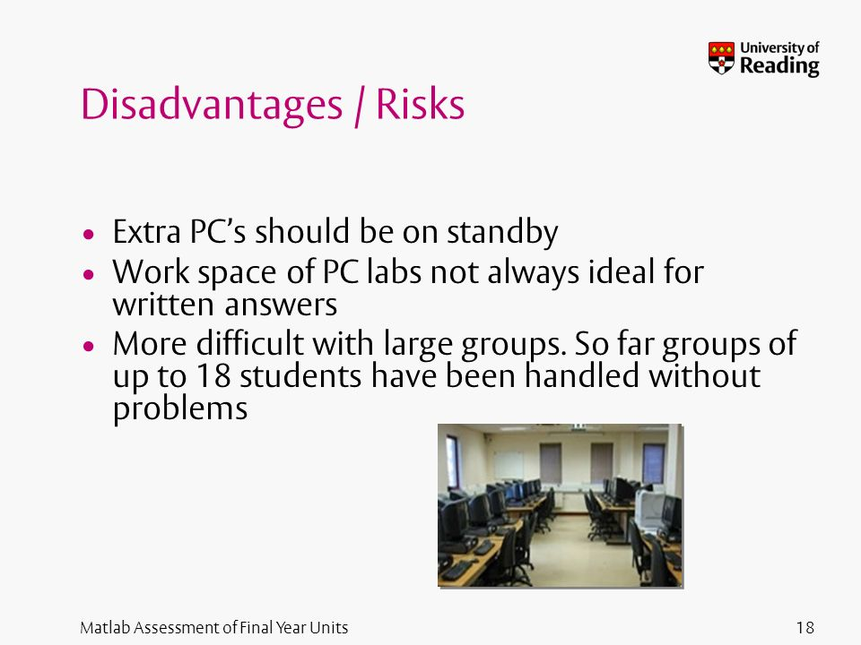 Matlab Assessment of Final Year Units Disadvantages / Risks Extra PCs should be on standby Work space of PC labs not always ideal for written answers
