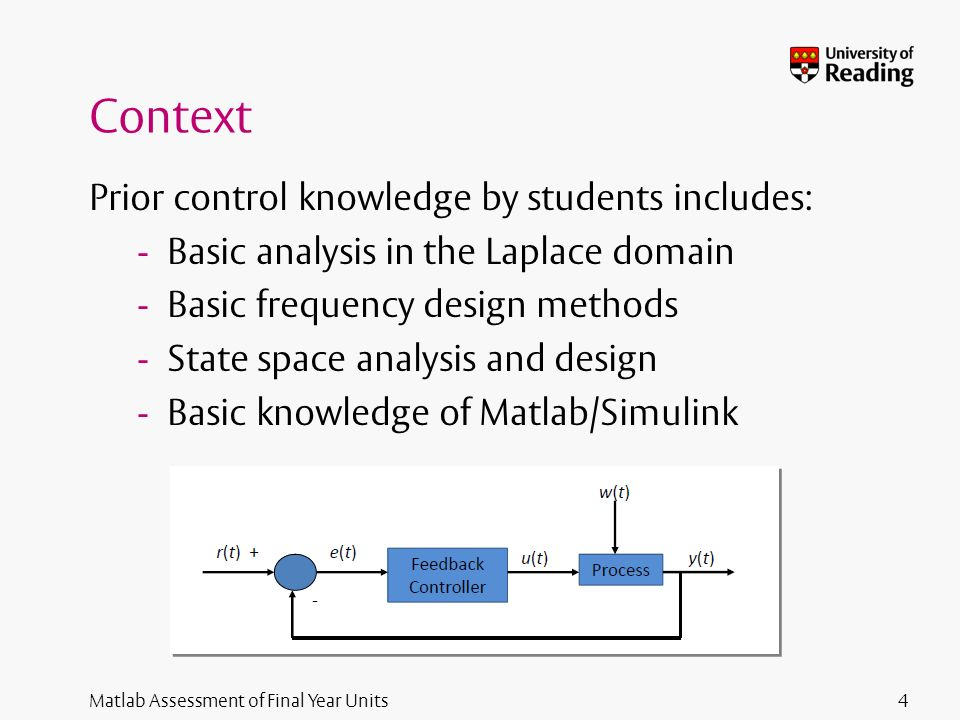 Matlab Assessment of Final Year Units Context Prior control knowledge by students includes: - Basic analysis in the Laplace domain - Basic frequency design methods - State space analysis and design - Basic knowledge of Matlab/Simulink 4