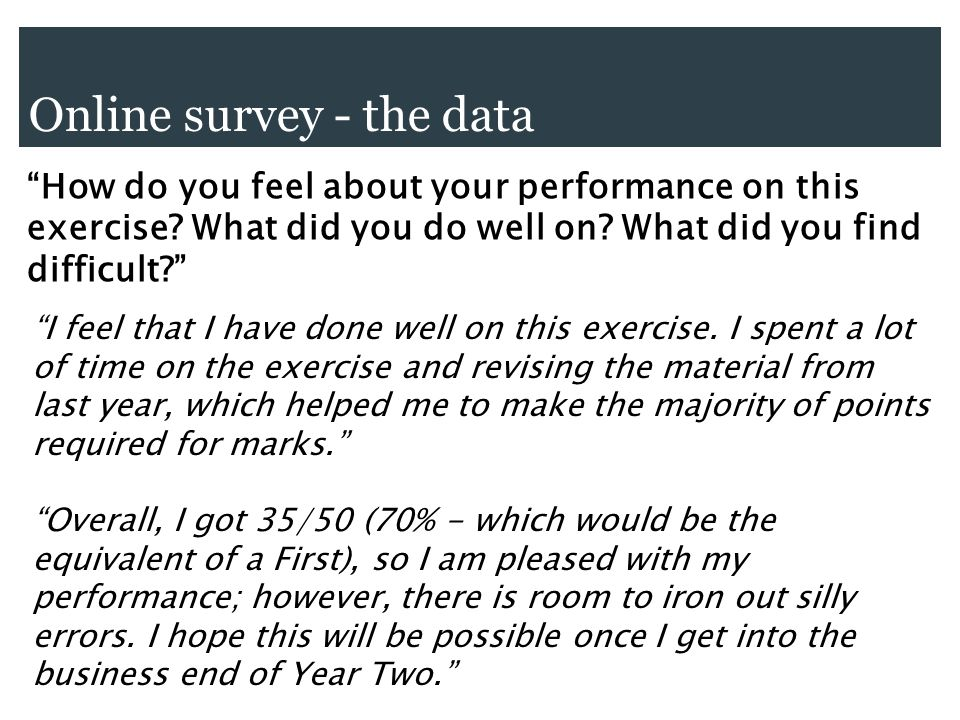 Online survey - the data How do you feel about your performance on this exercise.